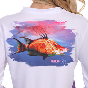 Barefoot In Public Women's Hogfish Long Sleeve Performance Shirt - Planet Ocean Edition