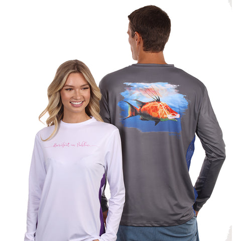 Barefoot In Public Men's Hogfish Long Sleeve Performance Shirt