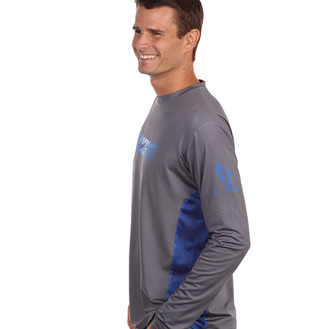 Image of Barefoot In Public Men's Hogfish Long Sleeve Performance Shirt - Planet Ocean Edition