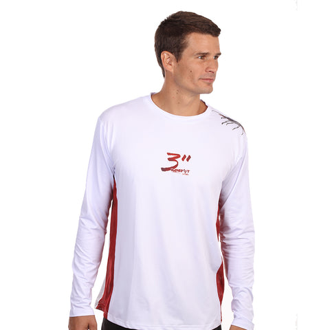 Image of Barefoot In Public Men's Lobster Dive Flag Long Sleeve Performance Shirt - Planet Ocean Edition