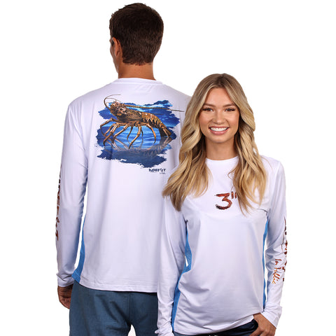 Image of Barefoot In Public Women's Florida Lobster Long Sleeve Performance Shirt - Planet Ocean Edition