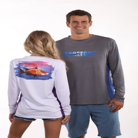 Barefoot In Public Women's Florida Lobster Long Sleeve Performance Shirt - Planet Ocean Edition