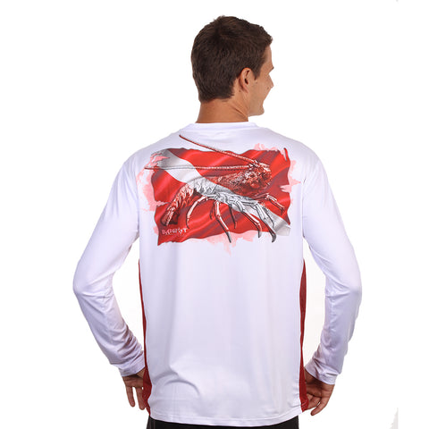 Barefoot In Public Men's Lobster Dive Flag Long Sleeve Performance Shirt - Planet Ocean Edition