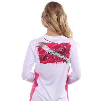 Barefoot In Public Women's Lobster Dive Flag Long Sleeve Performance Shirt - Planet Ocean Edition