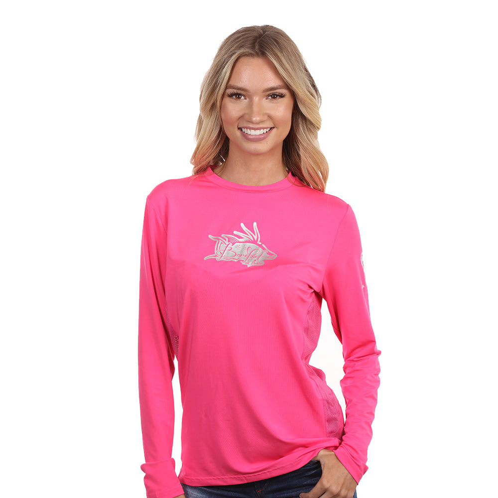 Barefoot In Public Women's Hogfish Logo Long Sleeve Performance Shirt - Planet Ocean Edition