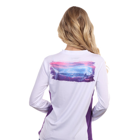 Barefoot In Public Women's Mahi Mahi Wave Long Sleeve Performance Shirt - Planet Ocean Edition