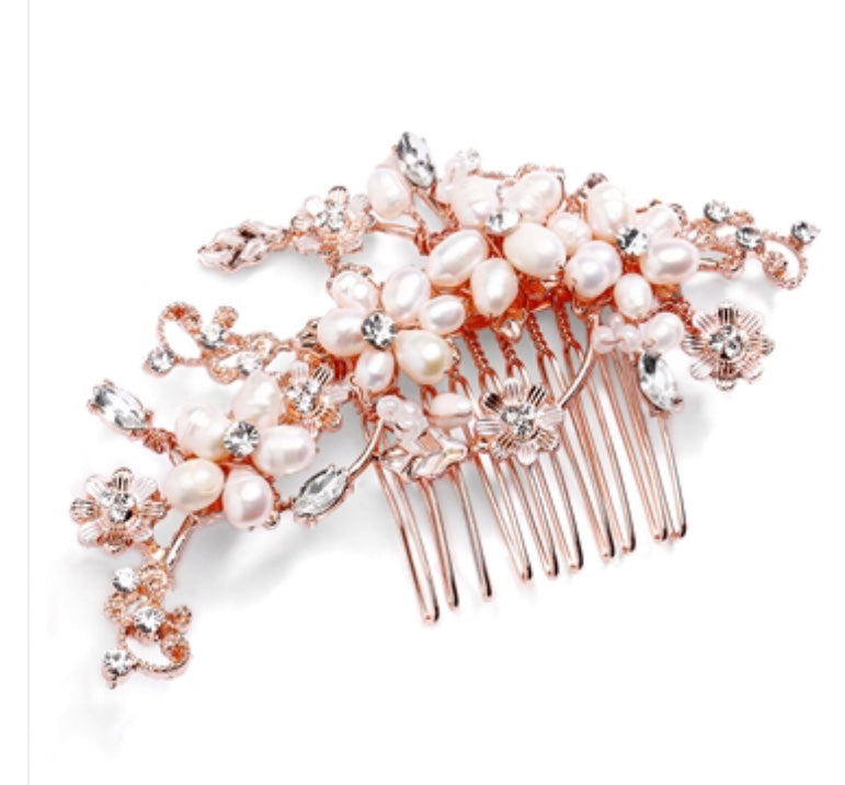 Top-Selling Freshwater Pearl and Rose Gold Bridal Comb