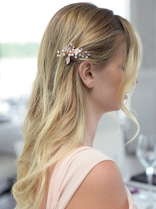 Top Selling Bridal Hair Pin with Silvery Rose Gold Leaves, Freshwater Pearl and Crystal Sprays