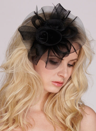 Black or White Organza Bridal Cocktail Hat with Feathers