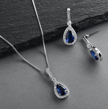"Load image into Gallery viewer, Something Blue"" Sapphire CZ Pear Shaped Necklace and Earrings Set"