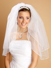 Load image into Gallery viewer, Two Layer Wedding Veils with Rounded Satin Cord Edge