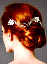 Load image into Gallery viewer, Triple Combs Enamel Bridal Headpeice with Crystal Swags