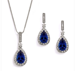 "Something Blue"" Sapphire CZ Pear Shaped Necklace and Earrings Set"