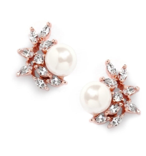 Rose Gold Cubic Zirconia Crescent Bridal Earrings with Ivory Pearl
