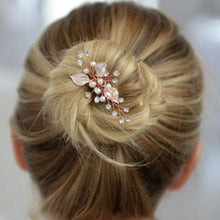 Load image into Gallery viewer, Top Selling Bridal Hair Pin with Silvery Rose Gold Leaves, Freshwater Pearl and Crystal Sprays