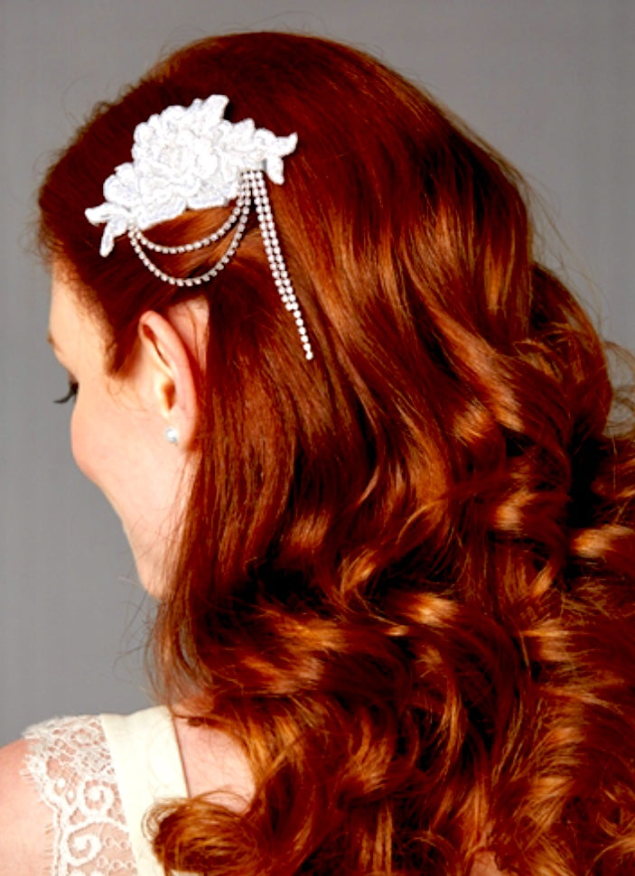 White English Rose Lace Comb with Crystal Draped Swags