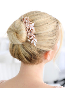 Designer Bridal Hair Comb with Hand Painted Rose Gold Leaves and Pave Crystals