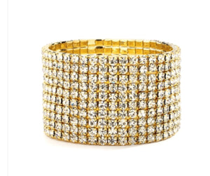 10-Row Clear Gold Rhinestone Wedding or Prom Stretch Bracelet