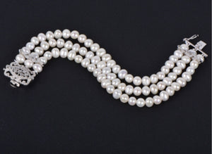 Wedding 3-Row Freshwater Pearl Bridal Bracelet with Vintage CZ Clasp