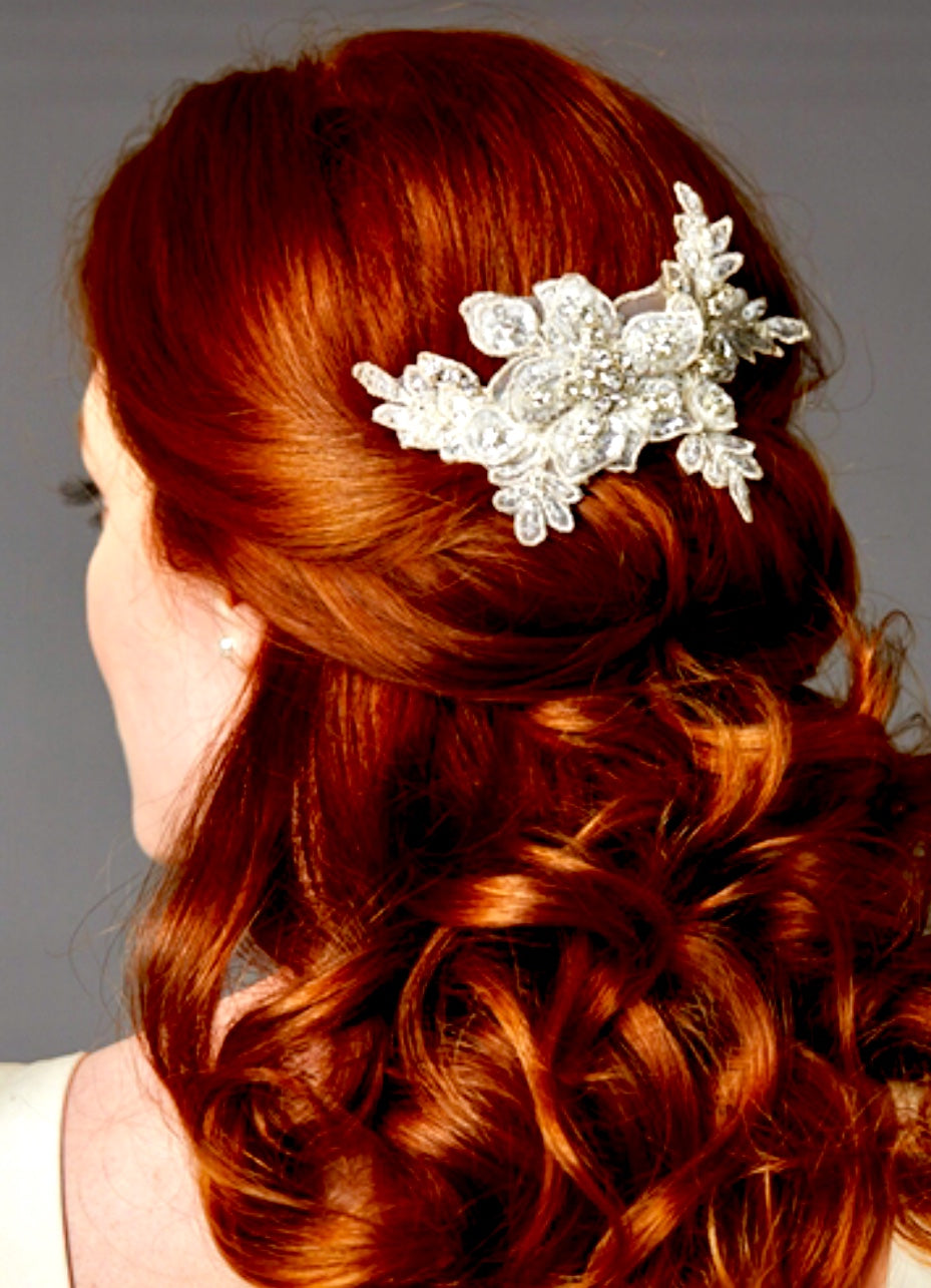 English Rose Sculptured European Ivory Lace Bridal Comb with Crystals and Sequins