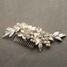 Load image into Gallery viewer, Designer Bridal Hair Comb with Hand Painted Gold Leaves and Pave Crystals