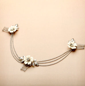 Triple Combs Enamel Bridal Headpeice with Crystal Swags