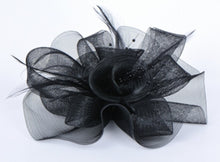 Load image into Gallery viewer, Black or White Organza Bridal Cocktail Hat with Feathers