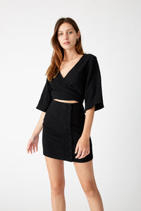 Closure Wrap Mini Dress - Black