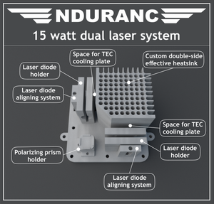 "The Endurance 15 (15000 mW) watt ""Duos"" laser beam head. Version 1.0"