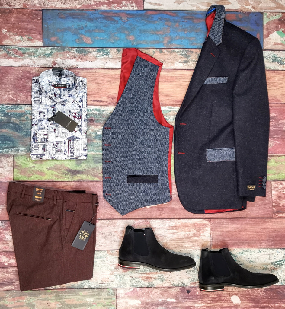 Santinelli Jacket and Contrast Waistcoat