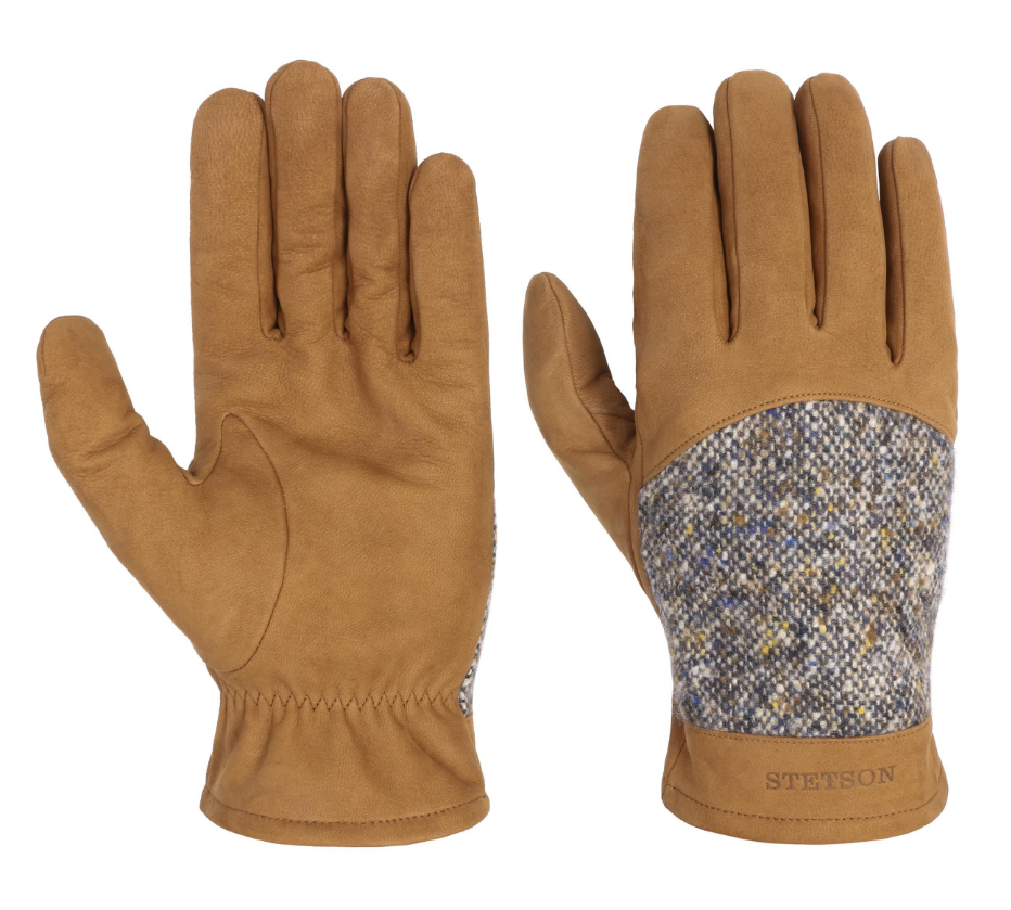 Stetson LEATHER GLOVES WITH VIRGIN WOOL BROWN-BEIGE