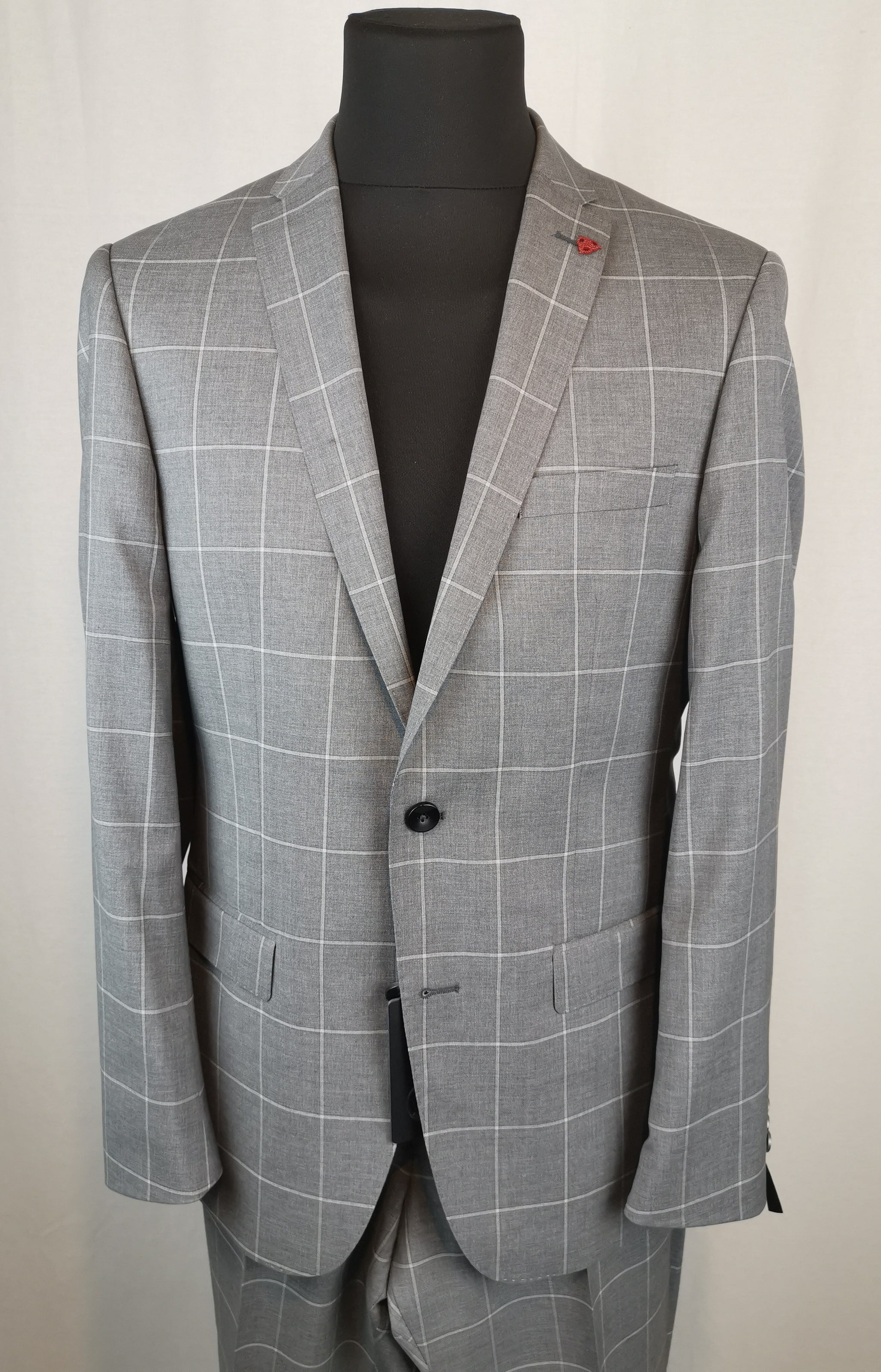 Roy Robson Super 110 Grey over check Slim Fit Suit