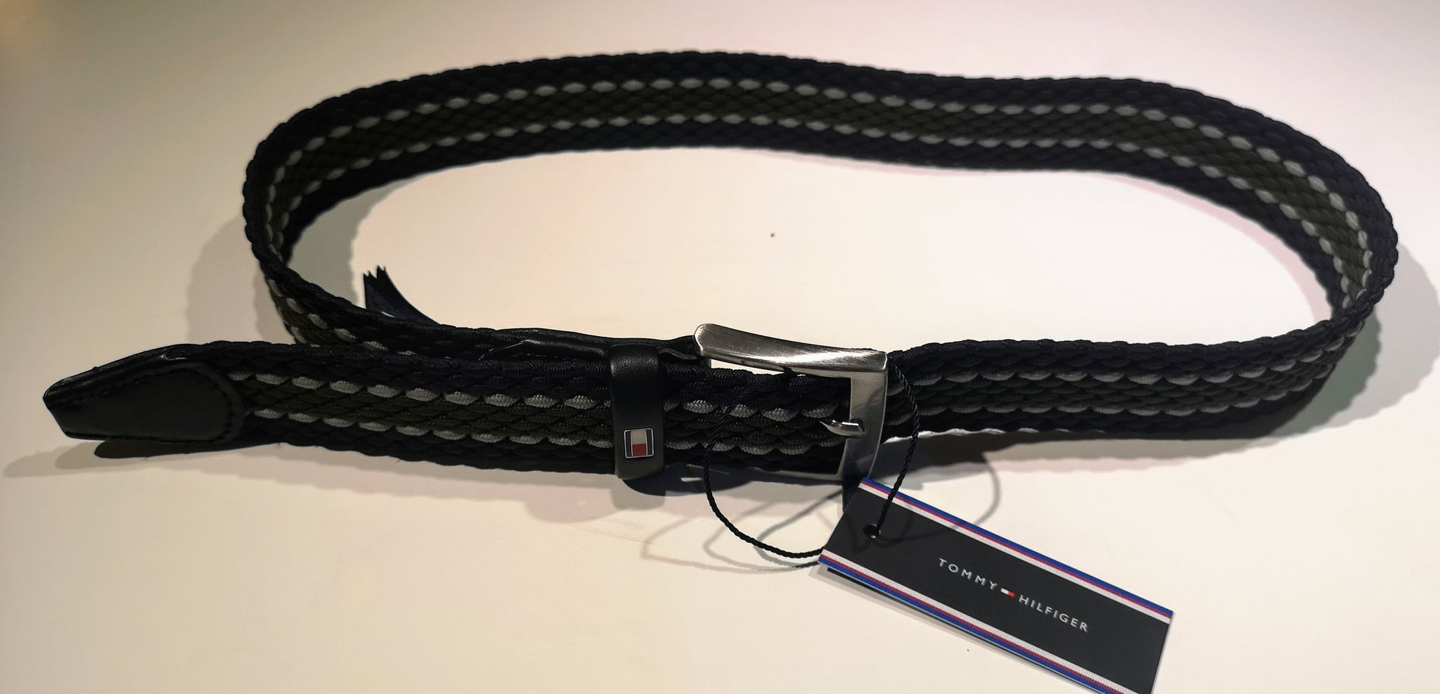 "Tommy ""Adan three colour "" Elasticated belt - Navy/sky blue /olive"