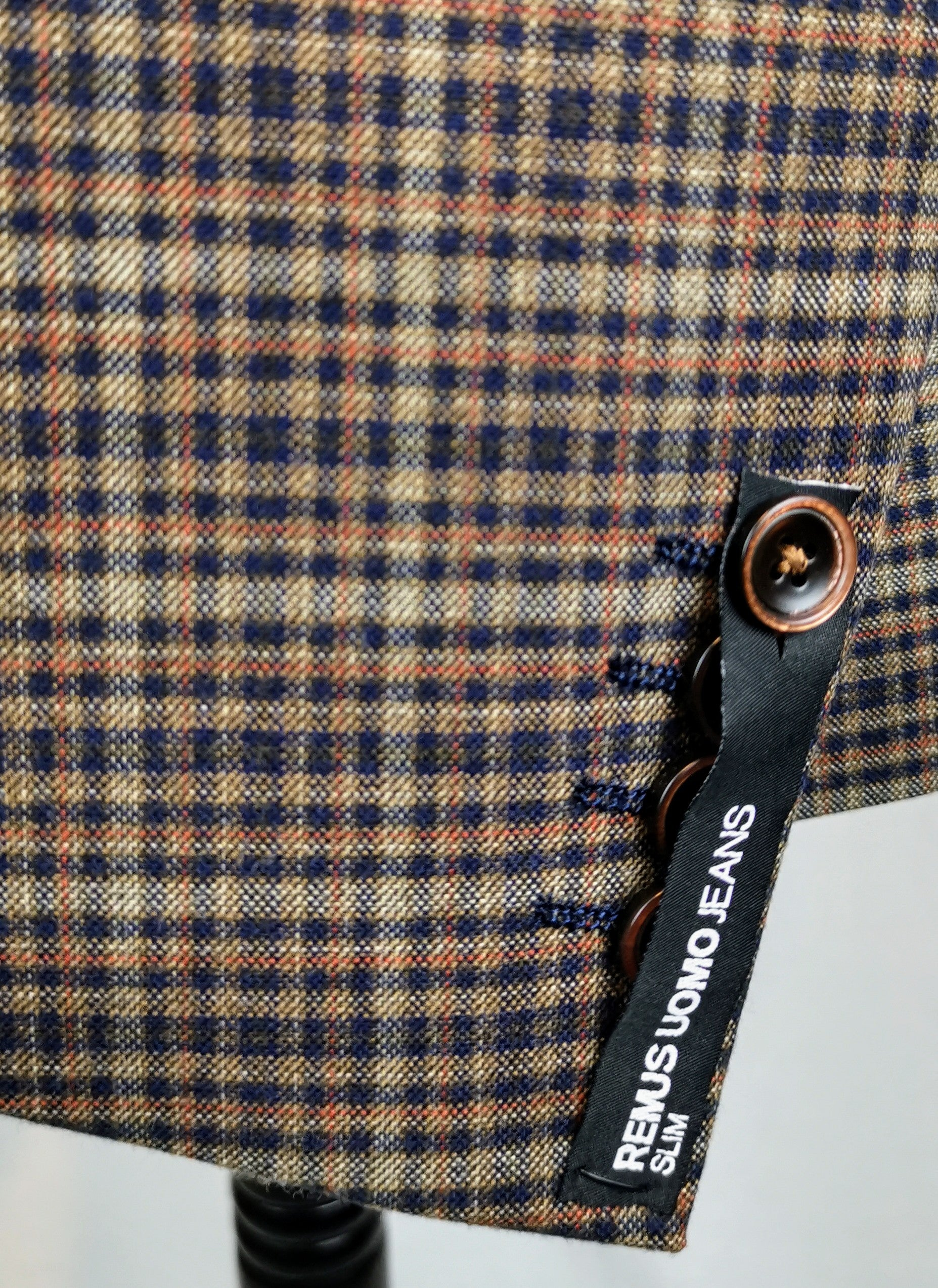 Remus Uomo Slim Fit Check Jacket with Navy Lapel