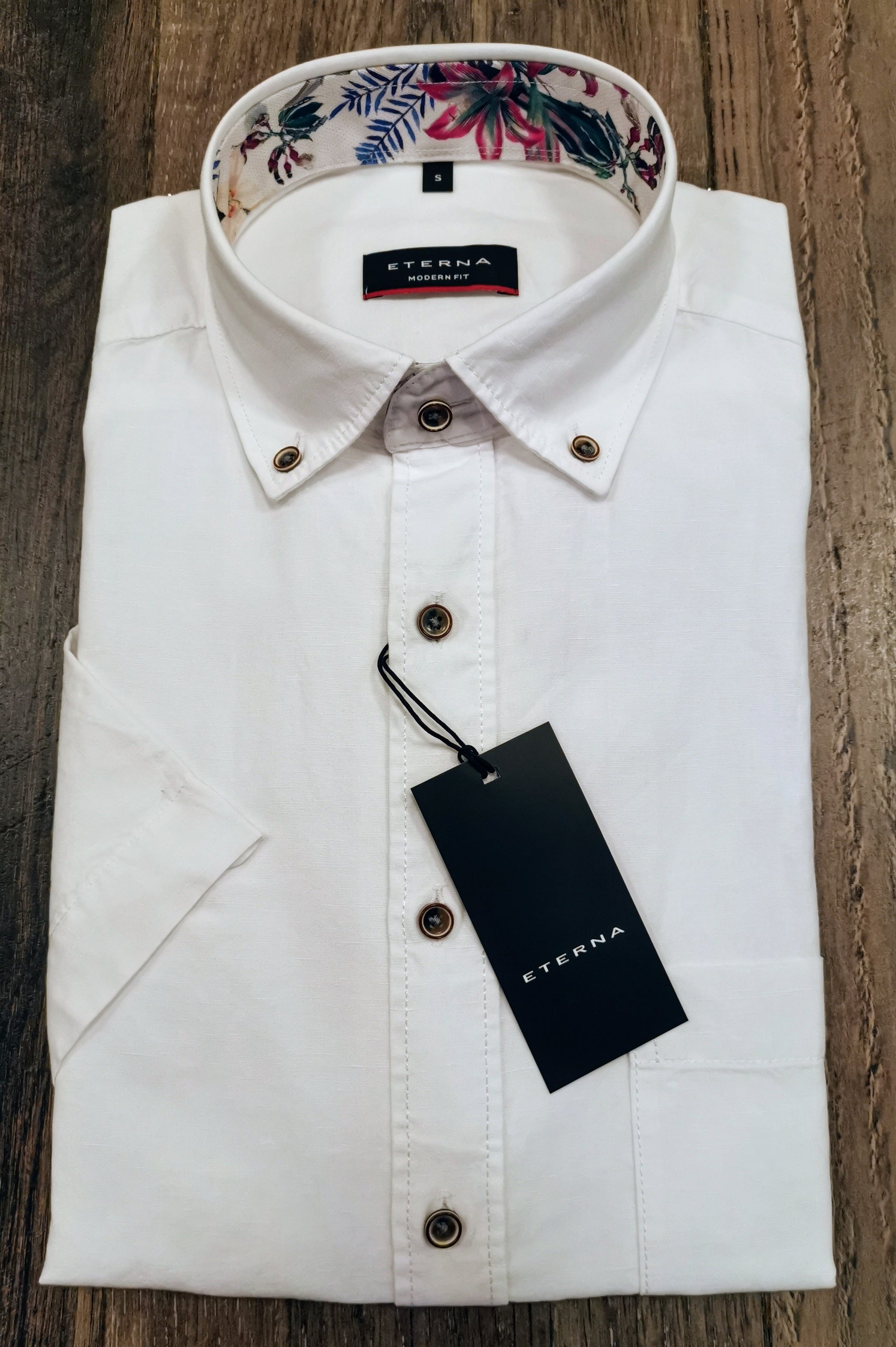 Eterna Modern Fit White Cotton and Linen Shirts