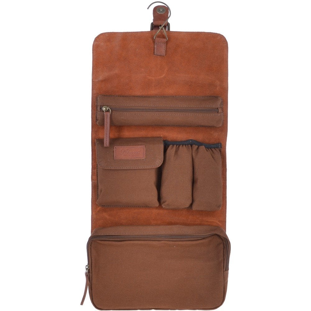 Ashwood Leather / Canvas Vintage Hanging Wash Bag