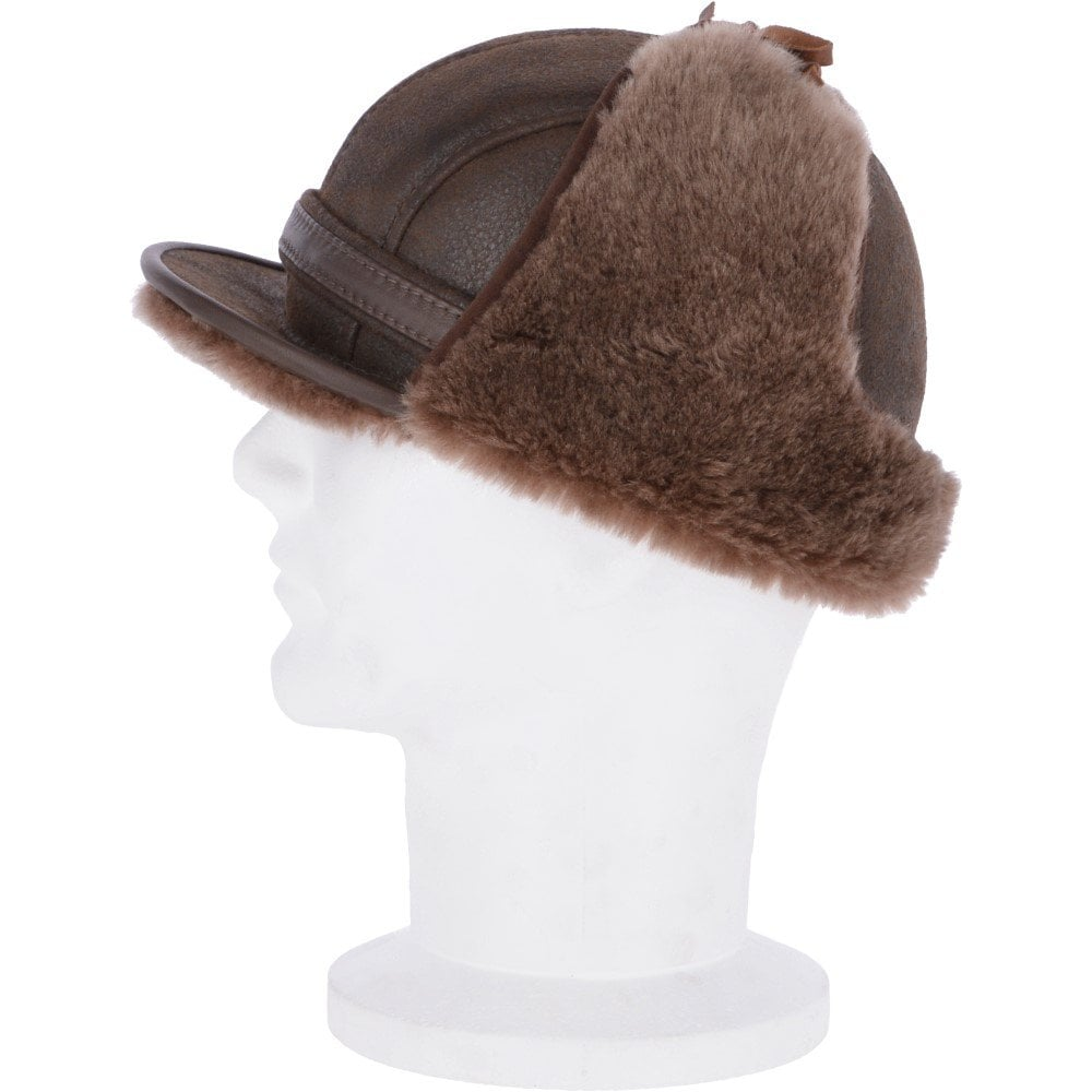 Leather Hunting Trapper Hat With Sheepskin Fur lining