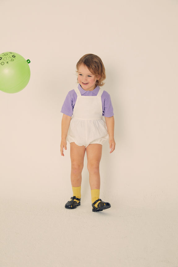 Bubble Linen Romper -White