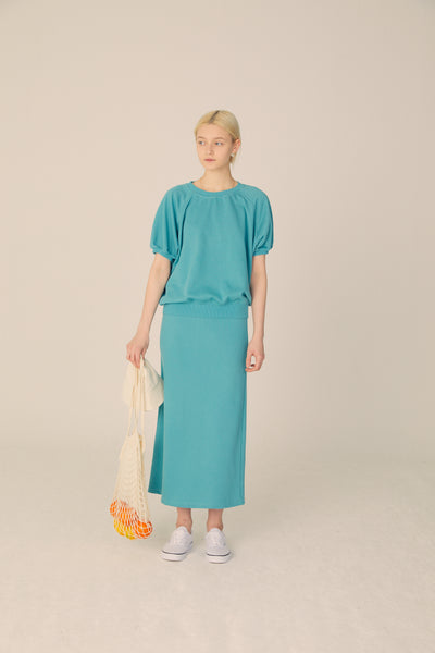 Puff Sleeve Sweatshirt and Skirt Set  - Pagoda Blue - Maybellstudio