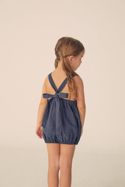 Bubble Linen Romper -Navy