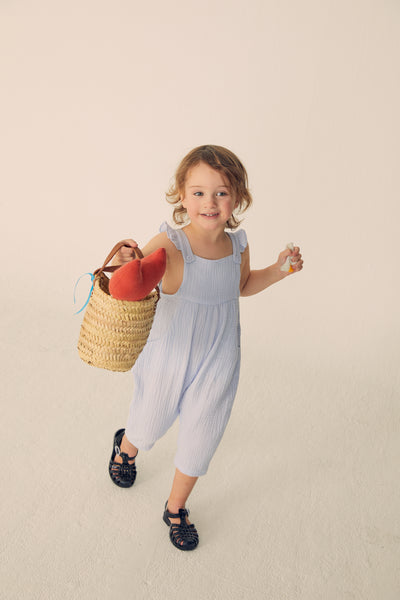 Gauze Ruffled Overalls -Light Blue