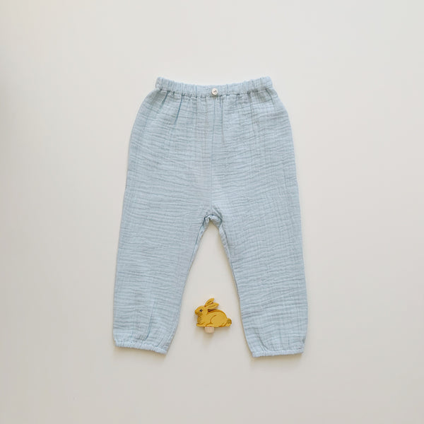 Button Gauze Pants - Sky white