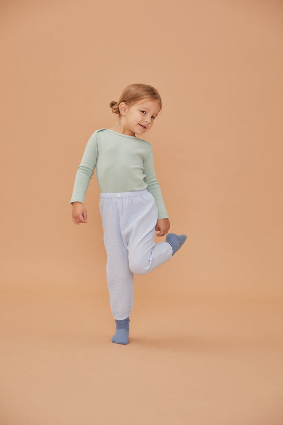 Button Gauze Pants - Light blue