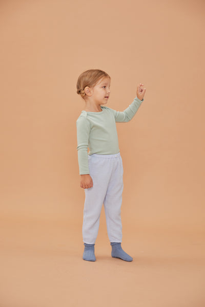 Button Gauze Pants - Light blue - Maybellstudio