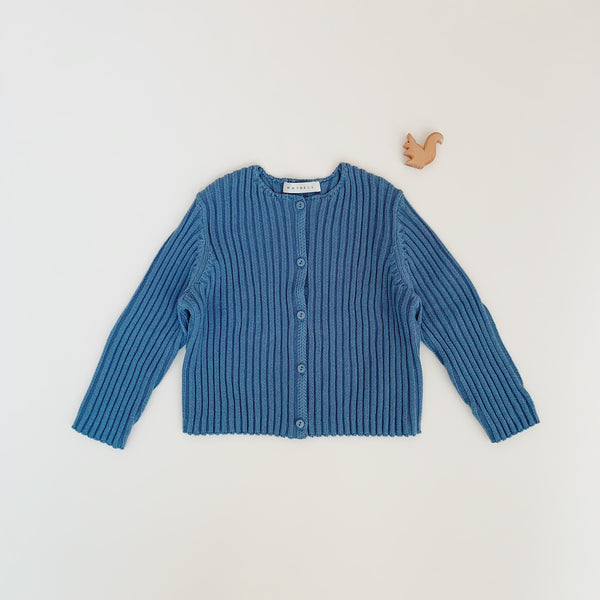 Rib cardigan - Blue - Maybellstudio