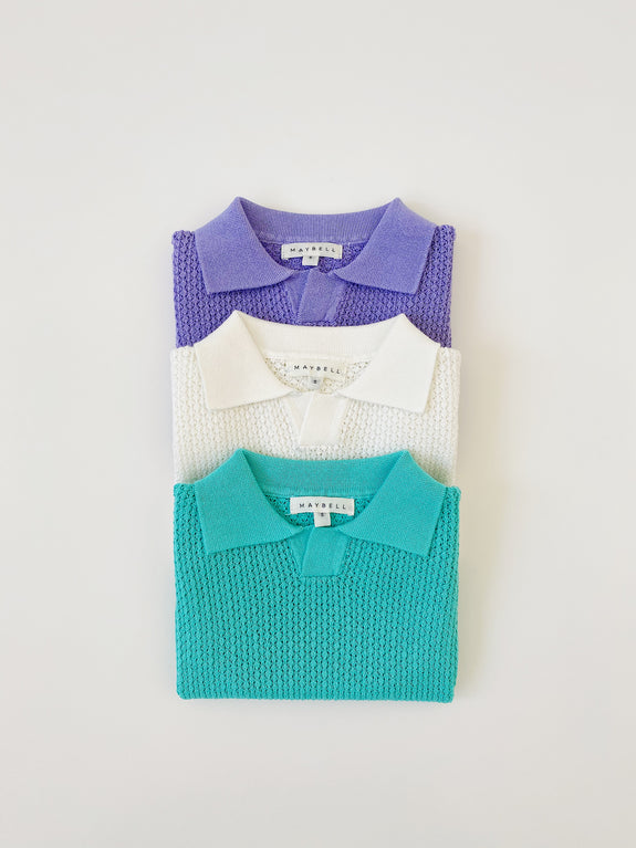 Knitted Polo shirts - Purple - Maybellstudio