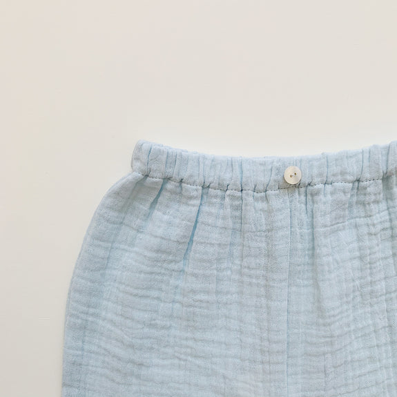Button Gauze Pants - Sky white - Maybellstudio