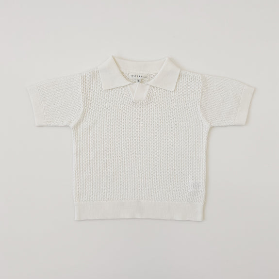 Knitted Polo shirts - White - Maybellstudio