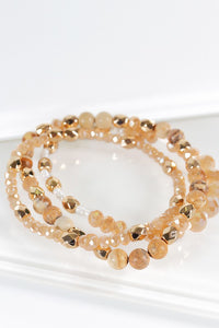 Natural Stone and Glass Bead 3 Bracelet Set Brown