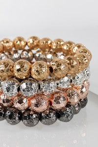 Metallic Bead Bracelet - Rose Gold